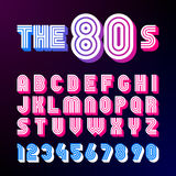 Eighties style retro font. 80`s font design with shadow, disco style, alphabet and numbers Royalty Free Stock Images