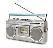 Eighties vintage radio cassette player. Vintage stereo radio cassette player of 80s isolated royalty free stock images