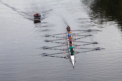Eights. Eight ladies rowing on the River Ross in Hertfordshire Stock Photos