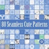 Eighty blue seamless textures Stock Photo