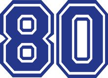 Eighty college number 80. Vector Stock Photography