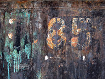 Eighty-five. Metal iron rust green Royalty Free Stock Photos