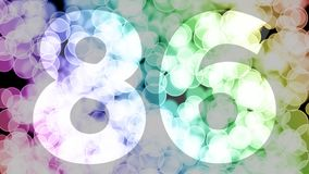 Eighty five to eighty six years birthday fade in/out animation with color gradient moving bokeh background. Animation: 90 frames still with number, 180 fade vector illustration