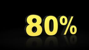 Eighty 80 % percent 3D rendering Royalty Free Stock Image