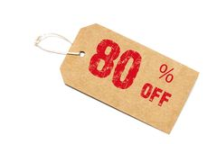 Eighty percent off discount - a paper price tag on white backgro. Und Royalty Free Stock Photography