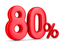 Eighty percent on white background. Isolated 3D Stock Photo