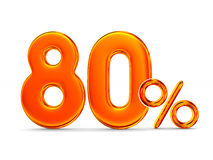 Eighty percent on white background. Isolated 3D illustration.  Royalty Free Stock Image