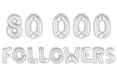 Eighty thousand followers, chrome grey color Royalty Free Stock Images