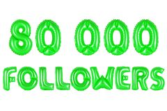 Eighty thousand followers, green color Royalty Free Stock Photo