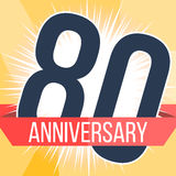 Eighty years anniversary banner. 80th anniversary logo. Vector illustration. Royalty Free Stock Photography