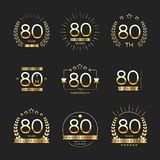 Eighty years anniversary celebration logotype. 80th anniversary logo collection. Vector Stock Photography