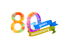 80 eighty years anniversary. Vector triangular digits Royalty Free Stock Image
