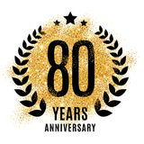 Eighty years gold anniversary. Eighty years gold anniversary symbol. 20th twenties. Golden glitter icon celebration for flyer, poster, banner, web header Royalty Free Stock Image