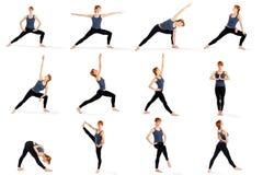 Eignung-Frau in den verschiedenen stehenden Yoga-Haltungen Stockfoto