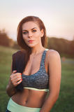 Eignung, Sport, junge attraktive Frau des Lebensstilkonzeptes im spo Stockfoto