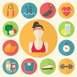 Eignung, Sportausrüstung, mitfühlende Zahl, Diät, lizenzfreie abbildung