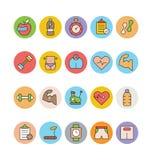 Eignung und Gesundheit farbige Vektor-Ikonen 7 Stockbilder