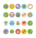 Eignung und Gesundheit farbige Vektor-Ikonen 4 Lizenzfreie Stockfotografie