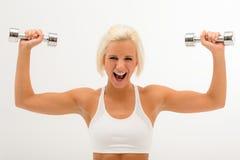 Eignungfrauen-Aufzug Dumbbells weiß Stockbilder