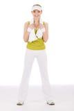 Eignungjugendlichfrau in der sportiven Ausstattung Stockfotos