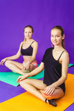 Eignungs-, Sport-, Trainings- und Lebensstilkonzept - lächelnd zwei sportliche Frauen, die Übungen auf Matte in der Turnhalle tun Stockbilder