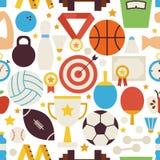 Eignungs-Sport-Wettbewerbs-Vektor-flaches Design-nahtloses Muster Stockbild