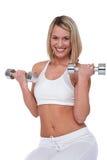 Eignungserie - blonde Frau mit Gewichten Lizenzfreie Stockbilder