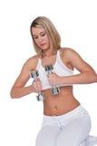 Eignungserie - blonde Frau mit silbernen Gewichten Stockbilder