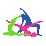 Eignungsfrau, Pilates-Ikonen, Yoga, Vektorillustration vektor abbildung