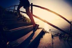 Eignungsfrauenhinterläufer, der oben auf Gebirgstreppe läuft lizenzfreie stockfotos