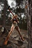Eignungsfrauenholzfäller stockbilder