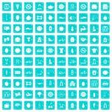 100 Eignungsikonen stellten Schmutz blau ein Lizenzfreies Stockbild