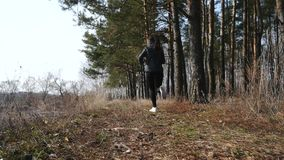 Eignungstraining draußen Sportfrau, die durch das Holz läuft stock video