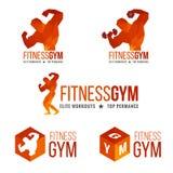 Eignungsturnhallenlogo (die Muskelkraft und das Gewichtheben der Männer) Lizenzfreie Stockfotografie
