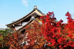 Eikando temple roof with fall colors, Kyoto Stock Images