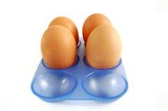 Eikarton mit Eiern auf weißem Hintergrund Lizenzfreies Stockfoto