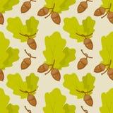 Eiken bladeren en eikelspatroon Stock Afbeelding