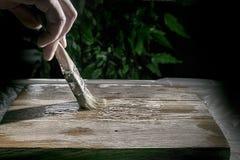 Eiken houtdeklaag met borstel Stock Afbeelding