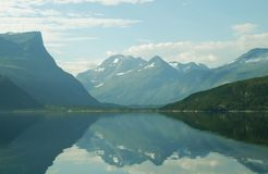 Eikesdal. Road to Eikesdal, Norway - beatiful view with mountains and fjords Stock Photo
