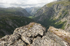 Eikesdal mountains. Aerial view from summit of Eikesdal mountains, Eikesdalen, Norway Royalty Free Stock Photography