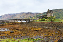 Eilan Donan castle at low water in Scotland Stock Image