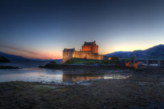 Eilan Donan Castle at sunrise Royalty Free Stock Photos