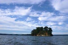 Eiland amid het meer stock afbeelding