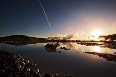 Eiland, Blauwe Geothermische Lagune, Landschap Royalty-vrije Stock Afbeelding