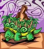 Eiland boven een schildpad Stock Afbeeldingen