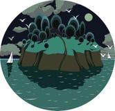 eiland in de oceaan, met jachten, vogels, en een volle maan bij nacht Stock Illustratie