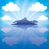 Eiland en blauwe oceaan vector illustratie