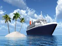 Eiland en Cruiseschip Stock Afbeeldingen