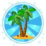 Eiland en palmen met kokosnoten Royalty-vrije Stock Afbeelding