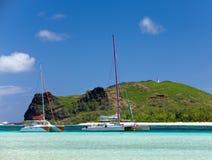 eiland Gabriel.Mauritius. Catamarans stock afbeelding
